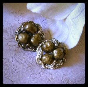 Vintage Gold Enamel Bead Cluster Earrings
